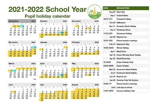 FISP 2021-2022 school calendar